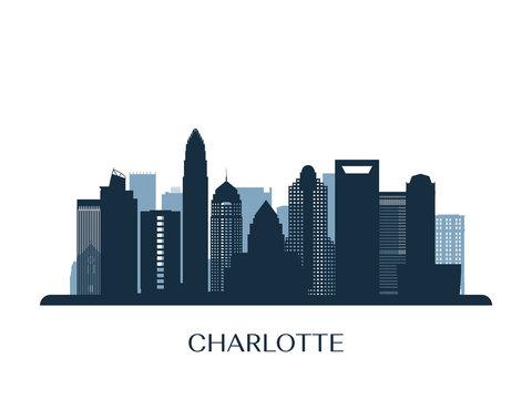 Charlotte skyline, monochrome silhouette. Vector illustration.