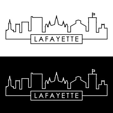 Lafayette city skyline. Linear style. Editable vector file.