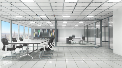 Wall Mural - Office interior with meeting room. 3d illustration