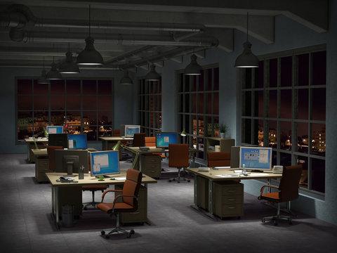 modern office interior in the night 3d illustration
