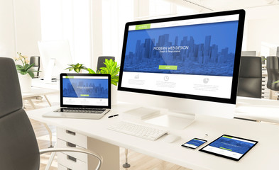 responsive devices showing responsive modern web design website in loft office mockup