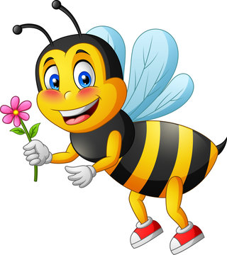 Cartoon cute bee carry flower. vector illustration
