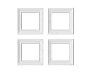 Set 4 1x1 Square picture frame mockup. Realisitc paper, wooden or plastic white blank. Isolated poster frame mock up template on white background. 3D render.