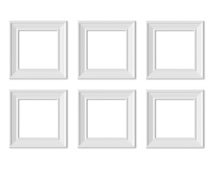 Set 6 1x1 Square picture frame mockup. Realisitc paper, wooden or plastic white blank. Isolated poster frame mock up template on white background. 3D render.