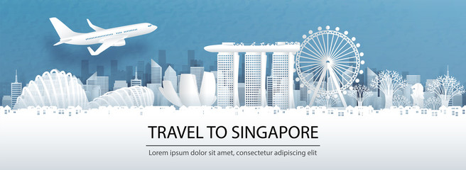 Fototapete - Travel advertising with travel to Singapore concept with panorama view of Singapore city skyline and world famous landmarks in paper cut style vector illustration.
