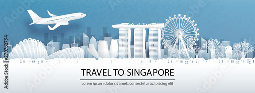Fototapete Travel advertising with travel to Singapore concept with panorama view of Singapore city skyline and world famous landmarks in paper cut style vector illustration.