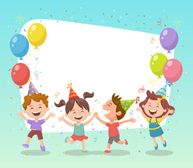 Happy group of kids celebrating a party with balloons, party hats and confetti. Template for making birthday cards, invitations, photo frames and backgrounds.