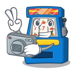 Photographer slot machine next to cartoon chair
