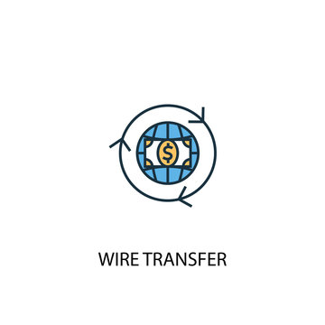 wire transfer concept 2 colored line icon. Simple yellow and blue element illustration. wire transfer concept outline symbol design