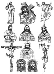 Hand Drawn Jesus Christ Vector design collection