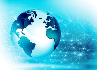 Fototapete - Best Internet Concept of global business. Globe, glowing lines on technological background. Wi-Fi, rays, symbols Internet, 3D illustration