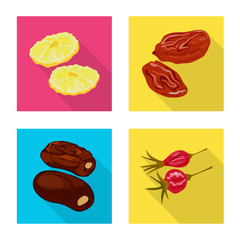 Fototapete - Isolated object of fruit and dried  logo. Set of fruit and food  stock symbol for web.
