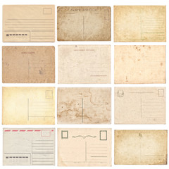 Set of various old vintage postcards isolated on white