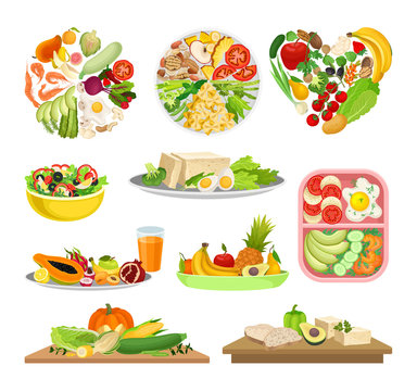 Set of images of a variety of foods. Vector illustration on white background.