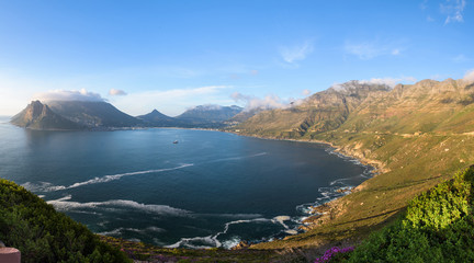Panoramic view on Hout Bay from the scenic road of Chapman's Peak Drive, Cape Town, South Africa