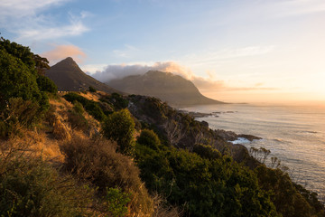 Sunset at the coastline around Chapman's Peak Drive, Cape Town, South Africa