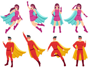 Superheroes set. Woman and man are superhero with different poses. Super girl and super guy wearing costumes and capes. Isolated vector illustration