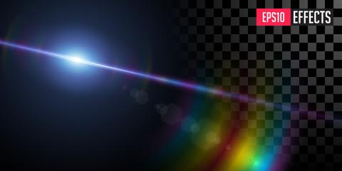 Obraz Far Star. Creative Vector Illustration of Far Blue Star. Transparent Sci-Fi Special Lens Flare Light Effect with Rainbow Shine. Concept Graphic Element. - fototapety do salonu