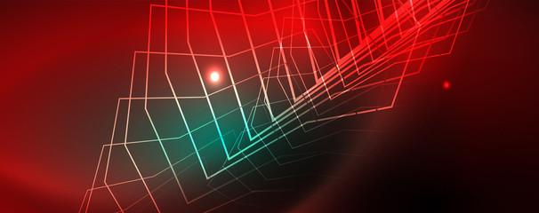 Papiers peints Rouge, noir, blanc Shiny glowing design background, neon style lines, technology concept, vector