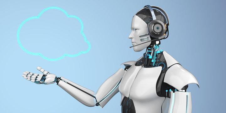 Humanoid Robot Callbot Cloud Speech Bubble