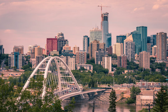 Edmonton, Alberta, Canada - Walterdale Bridge and Several Skyscrapers of Edmonton downtown at sunset