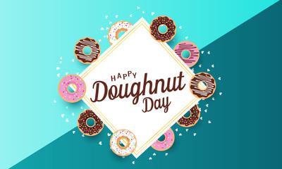 Doughnut day card or background. vector illustration.
