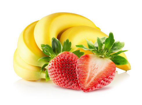 bananas and strawberries isolated on a white background