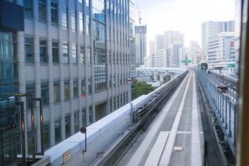 Fotobehang Treinstation Monorail in Tokyo