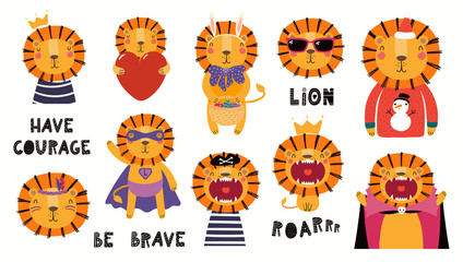 Foto auf Leinwand Abbildungen Set of cute lion illustrations, king, pirate, superhero, Easter , Christmas, Halloween. Isolated objects on white background. Hand drawn vector. Scandinavian style flat design. Concept children print.
