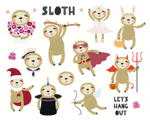Foto op Plexiglas Illustraties Set of cute sloth illustrations, sailor, superhero, unicorn, Halloween, ballerina. Isolated objects on white background. Hand drawn vector. Scandinavian style flat design. Concept for children print.