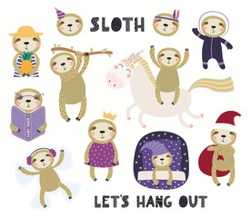 Set of cute sloth illustrations, astronaut, princess, winter, summer, sleeping. Isolated objects on white background. Hand drawn vector. Scandinavian style flat design. Concept for children print.