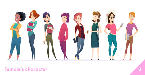 Women character design collection. Modern cartoon flat style. Females stand together. Young females in different poses.