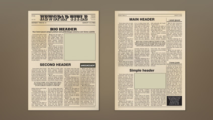 Old Vintage Two Pages Newspaper Layout Template
