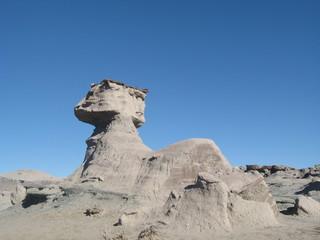 Sphinx rock formation in Ischigualasto Park, San Juan Argentina