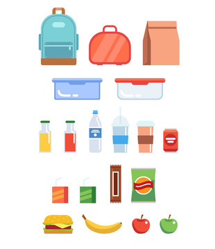 Lunchbox illustration set - different plastic containers, paper bag, bottles, juice, water, fruits, sandwich, backpack.