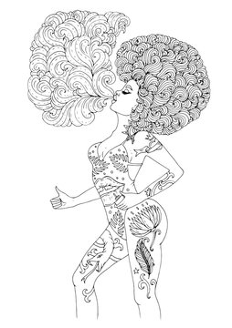 Vector in profile young African girl with beautiful tattooed body, with magnificent curly afro hairstyle, smoking and blowing a cloud. Patterned coloring page for adults. Design card, print on t-shirt