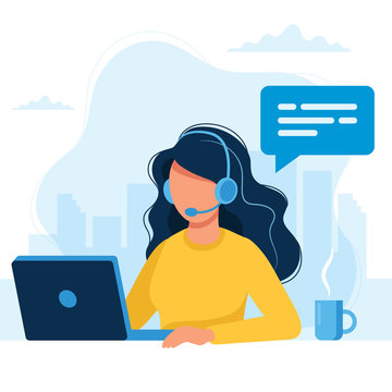 Customer service. Woman with headphones and microphone with laptop. Concept illustration for support, call center.