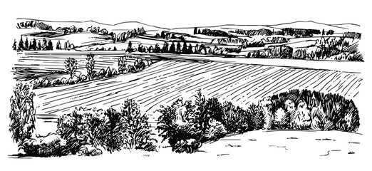 Rural landscape. Hand drawn set. Fotoväggar