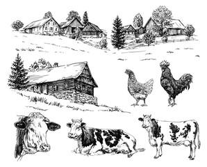 Farm, cows, rural houses. Hand drawn set.