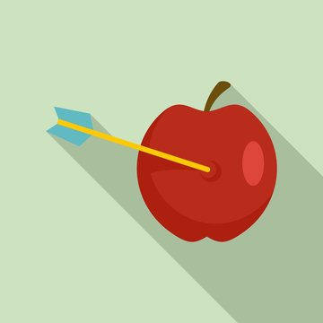 Arrow in apple icon. Flat illustration of arrow in apple vector icon for web design