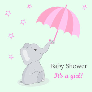 Invitation card baby shower with elephant for girl. Cute elephant with an umbrella on a turquoise background with stars. Birthday greetings card with flat elephant. vector EPS10