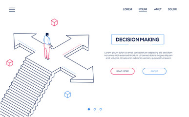 Decision making - line design style isometric web banner