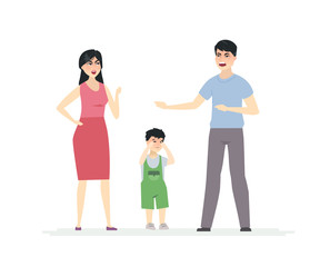 Chinese family arguing - cartoon people character vector illustration