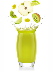 Wall Mural - mixed green fruit falling into a splashing juice glass isolated on white