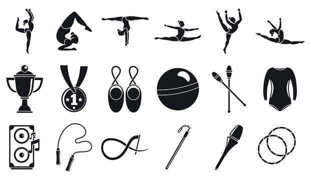 Sport rhythmic gymnastics icons set. Simple set of sport rhythmic gymnastics vector icons for web design on white background