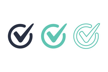 Check mark logo vector or icon vector illustration concept image icon. Access, right answer icons set for ui interface.