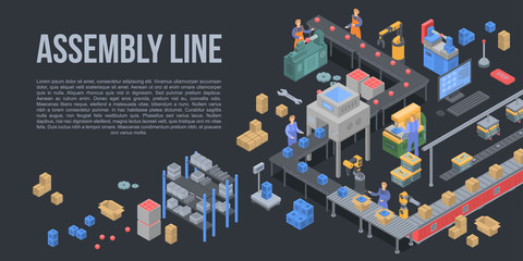 Assembly line factory concept background. Isometric illustration of assembly line factory vector concept background for web design