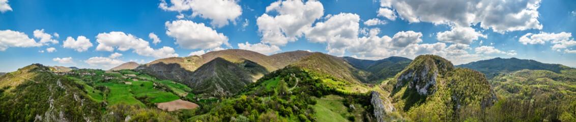 Mountain in Serbia ( serbian: Sokolska planina ) near the town of Krupanj. Beautiful nature in Serbia. Photographed from the air.