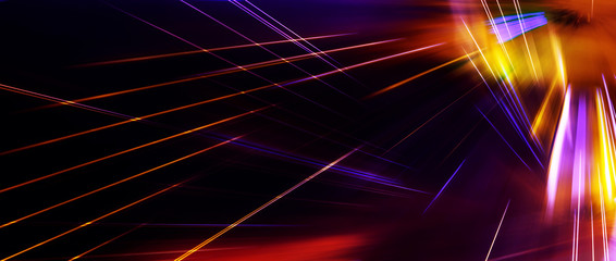 Panoramic high speed technology concept, dark red color light abstract background