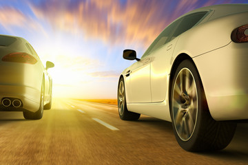 3D rendering of a low angle view of cars on motion on the road at sunset